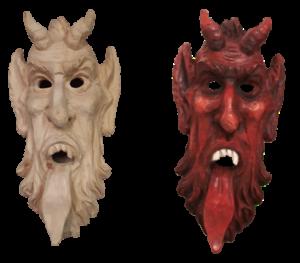 Krampusmaske in Zirbe geschnitzt